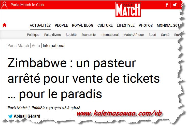 Zimbabwe pasteur arrêté pour vente tickets pour paradis