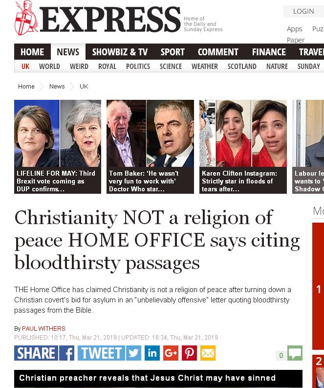 Bureau l'Intérieur Britannique Christianisme n'est religion paix