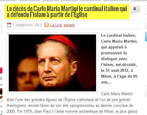 عاجل وفاة الكاردينال الايطالي كارلو ماريا مارتيني المدافع الاسلام
